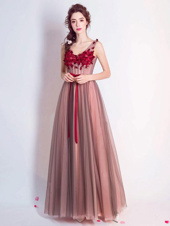 Red Prom Dress Cheap Long Lace Prom Dress #ER023 - OrtDress