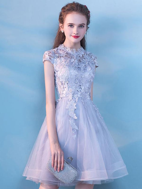 Silver Lace Homecoming Dress Party Cheap Homecoming Dress ER099 - OrtDress