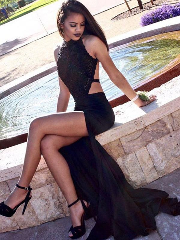 Black Sheath Prom Dress Cheap Long Chiffon Prom Dress #ER020 - OrtDress