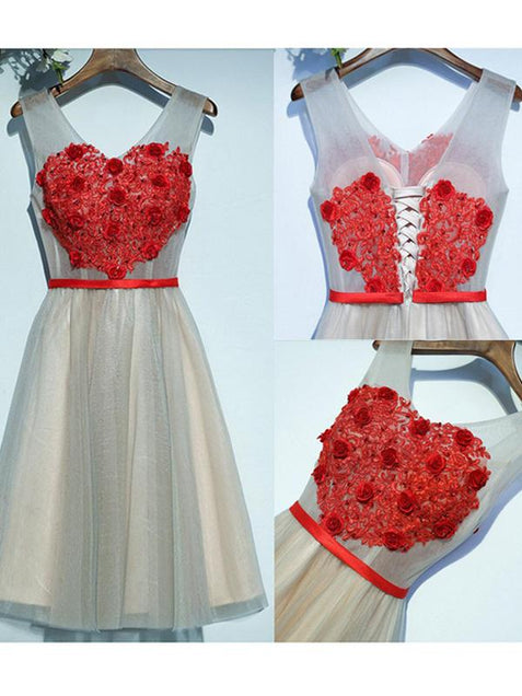 Red Lace Homecoming Dress Cheap Tulle Homecoming Dress ER119 - OrtDress