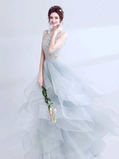 Chic Prom Dress Lace Cheap Long Prom Dress #ER067 - OrtDress