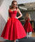 Red Homecoming Dresses A Line Vintage Tea-length Prom Dress Sexy Party Dress ER1000 - OrtDress