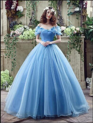 Ball Gown Plus Size Prom Dresses,Princess,Vintage Blue Cinderella Dresses ER1057 - OrtDress
