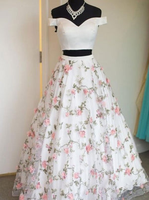 Two Pieces A-line Off-the-shoulder 3D floral Long Prom Dresses Formal Dresses Evening Dress ER1060 - OrtDress