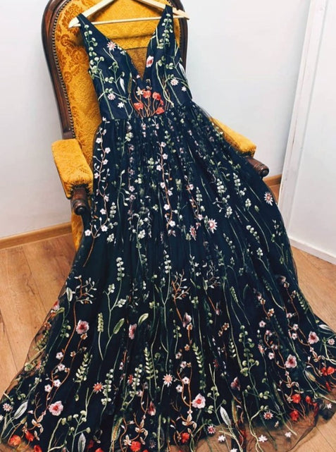 Black Floral Lace Prom Dresses Formal Cheap Long Evening Dress ER1061 - OrtDress