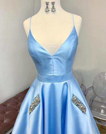 Light Sky Blue Cute Prom Dresses Spaghetti Straps Affordable Beaded Long Evening Gowns ER1062 - OrtDress