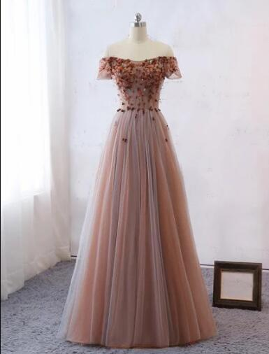 Off The Shoulder Prom Dresses Cheap Tulle Long Evening Gowns ER1063 - OrtDress