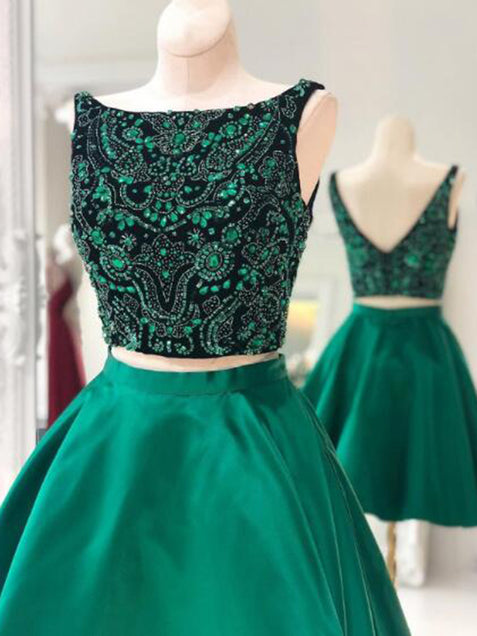 Homecoming Dress Short, Two Pieces Homecoming Dress, 2019 Prom Dresses ER1072 - OrtDress