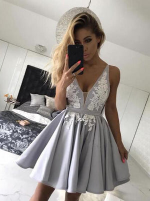 Homecoming Dresses With Appliques, Prom Dresses 2019, Short Silver Homecoming Dresses, V-Neck Homecoming Dresses ER1073 - OrtDress