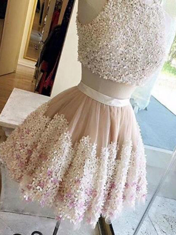 Prom Dress Short,Two Pieces Lace Prom Dress, Homecoming Dresses A-Line  ER1074 - OrtDress