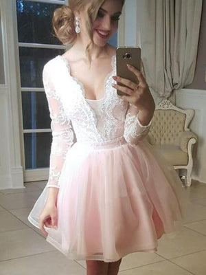 Homecoming Dresses Short, Appliques Prom Dresses, Prom Dresses 2019, Lace Prom Dresses ER1075 - OrtDress