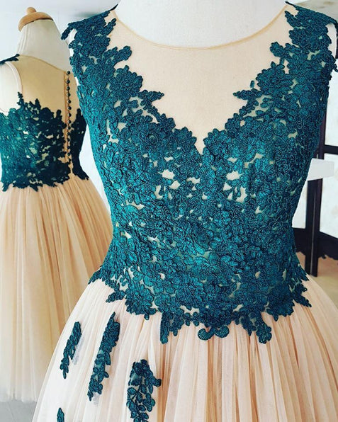 Chic Homecoming Dresses A-line Appliques Tulle Short Prom Dress Simple Party Dress ER217 - OrtDress