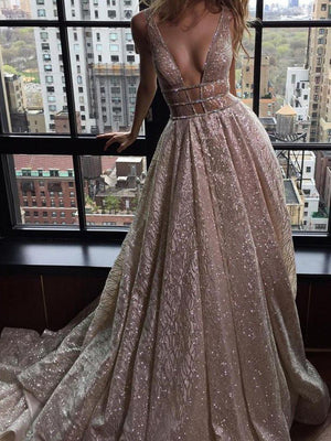 Chic Vintage Silver Prom Dress Lace V Neck Cheap Prom Dress #ER148 - OrtDress