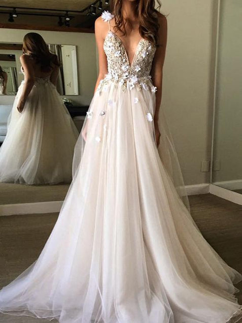 Chic Tulle Lace Prom Dress A Line Cheap Long Prom Dress #ER152 - OrtDress