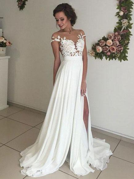 Chic Chiffon Ivory Wedding Dress A Line Lace Cheap Wedding Dress #ER153 - OrtDress