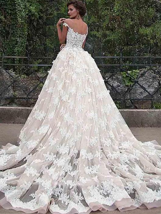 Ball Gown Vintage Wedding Dress Lace Short Sleeve Wedding Dress ...