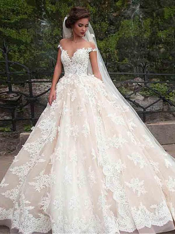 Ball Gown Vintage Wedding Dress Lace Short Sleeve Wedding Dress #ER156 - OrtDress
