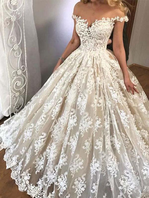 Ball Gown Wedding Dress Vintage Elegant Lace Wedding Dress #ER159 - OrtDress