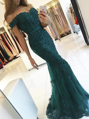 Green Mermaid Lace Prom Dress Off The Shoulder Prom Dress #ER164 - OrtDress