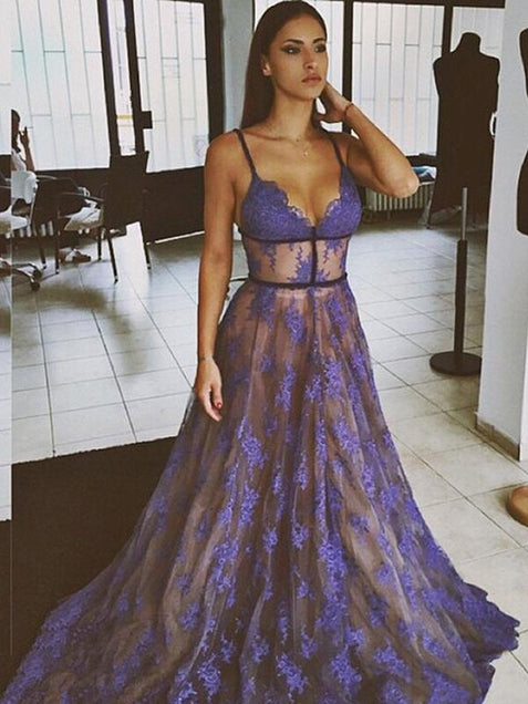 Chic Purple Lace Prom Dress A Line Cheap Prom Dress #ER165 - OrtDress