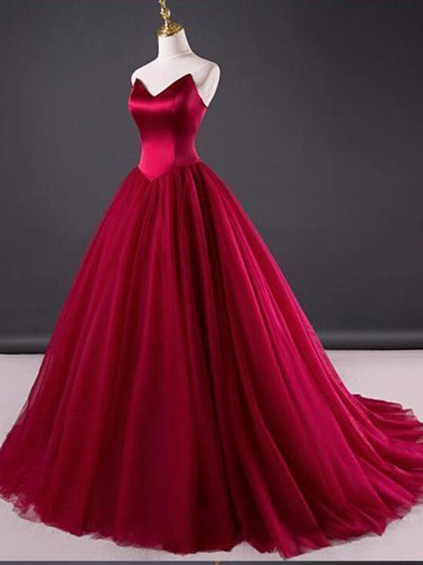 Chic Burgundy Prom Dress Popular Cheap Long Prom Dress #ER169 - OrtDress