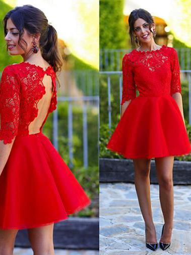 Red Homecoming Dress With Sleeve Lace Cheap Homecoming Dress ER177 - OrtDress