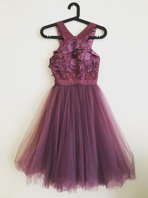 Cocktail Party Homecoming Dress Grape Lace Cheap Homecoming Dress ER183 - OrtDress