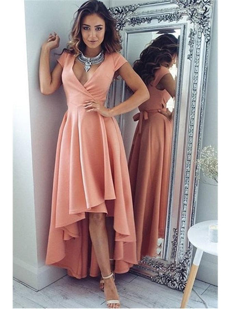 Chic Pink V Neck Prom Dress Cheap Short Sleeve Prom Dress #ER194 - OrtDress