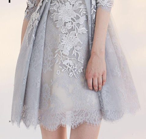 Chic Silver Homecoming Dress Cheap Lace Homecoming Dress With Sleeve ER196 - OrtDress