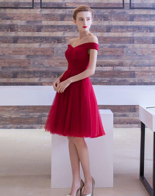 Burgundy Homecoming Dress Cheap Party Homecoming Dress With Sleeve ER197 - OrtDress