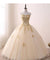 Ball Gown Gold Prom Dress Cheap Lace Tulle Prom Dress #ER201 - OrtDress