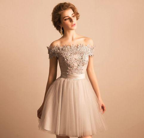 Off The Shoulder Homecoming Dress With Sleeve Party Lace Homecoming Dress ER204 - OrtDress