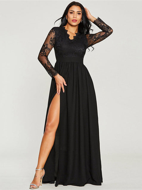 Black A Line Cheap Prom Dress Chiffon Long Sleeve Evenng Dress ER2044 - OrtDress