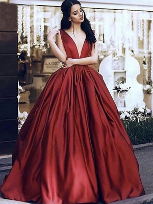 Red Ball Gown Prom Dress Plus Size Cheap Satin Evenng Dress ER2048 - OrtDress