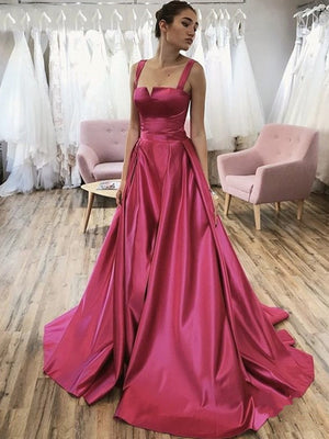 Chic A-line Straps Fuchsia Long Prom Dresses Satin Evening Dress ER2049 - OrtDress