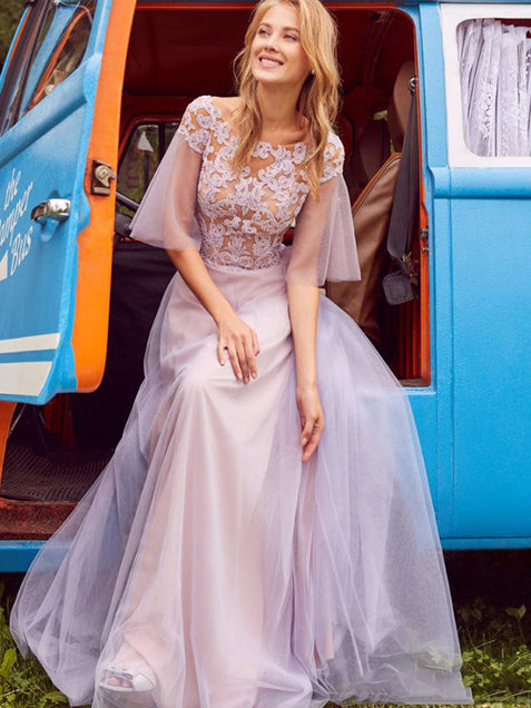 Tulle A Line Prom Dresses Beautiful Cheap Evening Dress with Sleeve ER2052 - OrtDress
