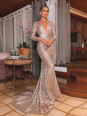 Mermaid Sexy Prom Dress Long Sleeve Backless Sequins Prom Dress ER2055 - OrtDress