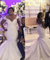 African Customed Mermaid Wedding Dress Plus Size Lace Scoop Bridal Gown ER2063