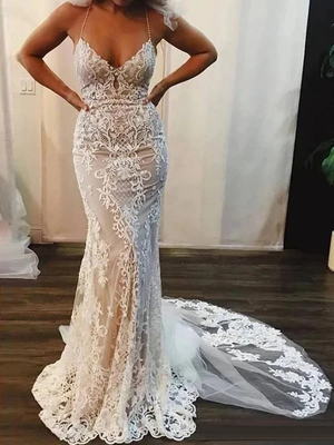Sheath Lace Wedding Dresses Halter Sexy Custom Bridal Gown ER2066
