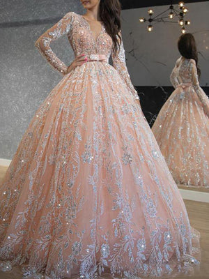 Pink Sequined Lace Ball Gown Prom Dresses Long Sleeve Formal Evening Dress ER2068