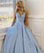 Sky Blue Satin Cheap Prom Dresses Custom Long Formal Dresses ER2069