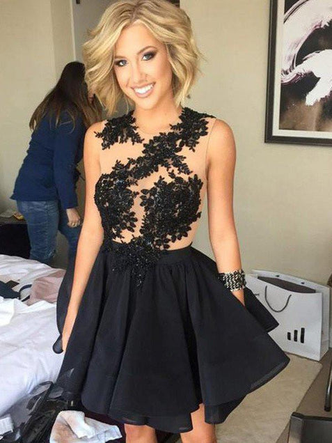 Black Party Homecoming Dress Lace Cheap Homecoming Dress ER207 - OrtDress