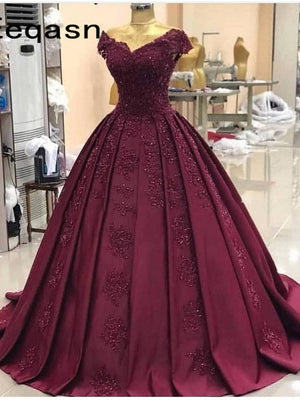 Elegant Custom Evening Dress Burgundy Ball Gown Long Prom Dress ER2071