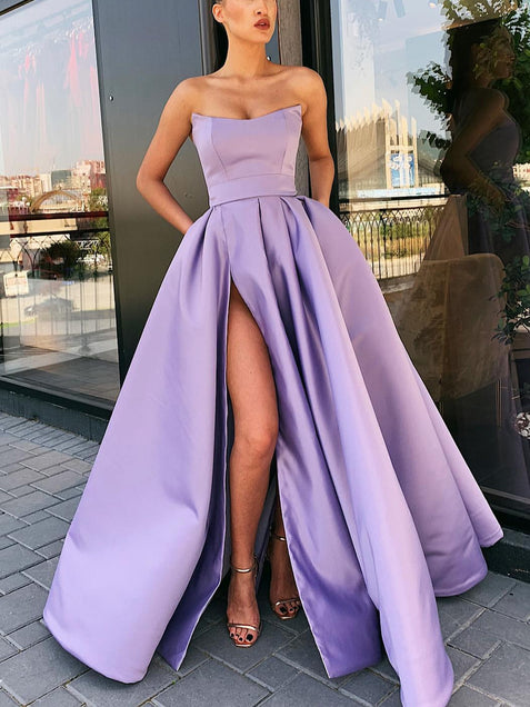Prom Dresses with High Slit Satin Purple Evening Party Dresses Custom Prom Gown ER2075