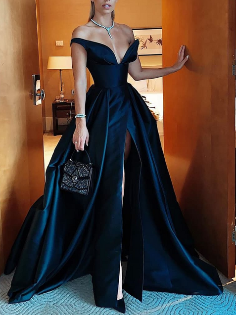 Off The Shoulder Satin Cheap Prom Dresses Long Side Slit V-Neck Black Formal Dresses ER2077