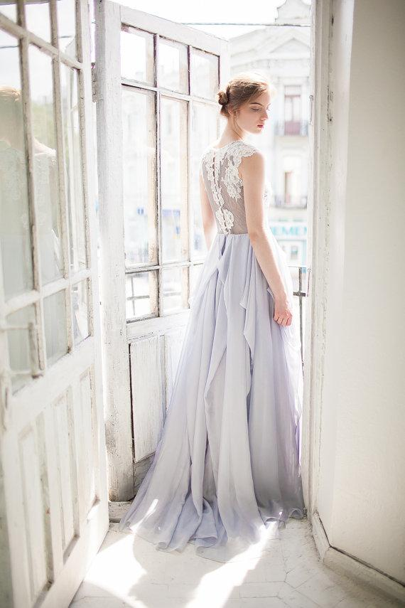 Chic Chiffon Prom Dress Blue Cheap Lace Long Prom Dress #ER218 - OrtDress