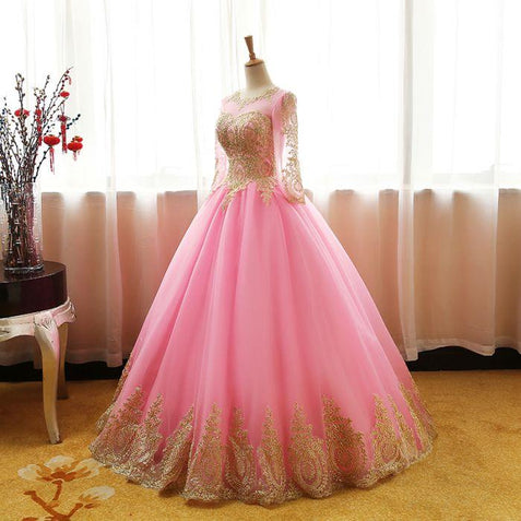 CHIC BALL GOWNS SCOOP PINK TULLE APPLIQUE MODEST LONG PROM DRESS EVENING DRESS ER270 - OrtDress