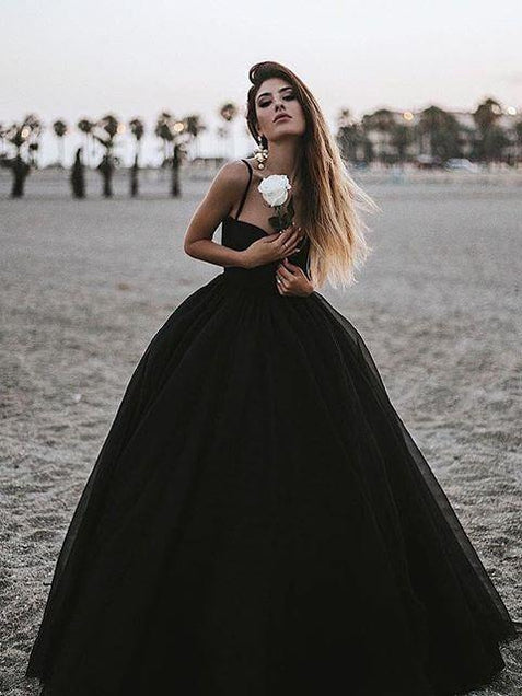 Ball Gown Black Tulle Prom Dress Cheap Tulle Long Vintage Prom Dress #ER261 - OrtDress