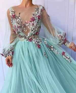 Flower Long Sleeve Prom Dress Cheap Lace Long Prom Dress #ER262 - OrtDress