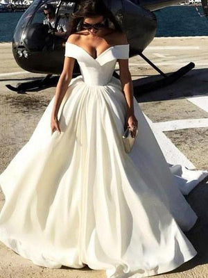 Ball Gown White Prom Dress Cheap Off The Shoulder Vintage Prom Dress  #ER263 - OrtDress
